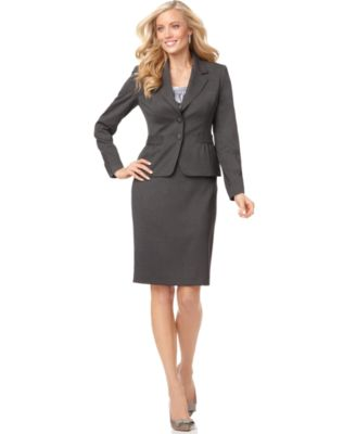 Nine West Suit, Long Sleeve Tweed Jacket & Pencil Skirt