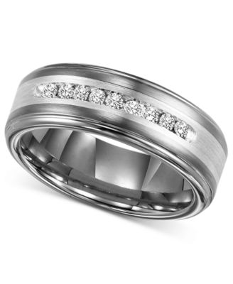 Triton Mens Diamond Wedding Band In Tungsten Carbide 14