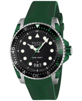Gucci Mens Swiss Dive Green Rubber Strap Watch 40mm
