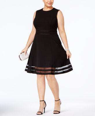 Calvin Klein Plus Size Illusion Trim Fit Amp Flare Dress