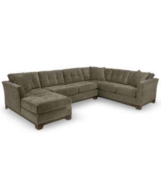 Couches and Sofas   Macy s Elliot Fabric Microfiber 3 Piece Chaise Sectional Sofa  Created for Macy s