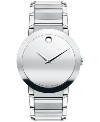 Movado Mens Swiss Sapphire Stainless Steel Bracelet Watch