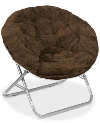 Idea Nuova Urban Living Adult Faux Fur Saucer Chair Home