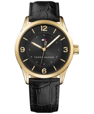 Tommy Hilfiger Mens Table Black Leather Strap Watch 42mm