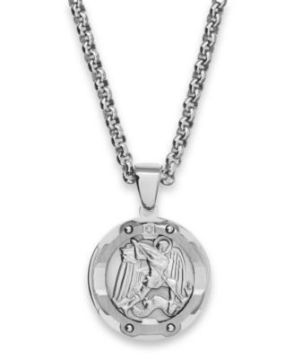Mens St Michael Diamond Pendant Necklace In Stainless Steel Necklaces Jewelry Amp Watches