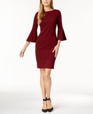 Calvin Klein Bell Sleeve Sheath Dress Amp Reviews Dresses