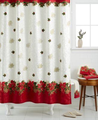 Lenox Holiday Poinsettia Tartan Shower Curtain Bath Towels Bed Amp Bath Macys