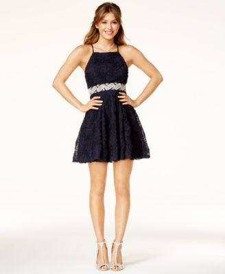 Trixxi Juniors Embellished Soutache Fit Amp Flare Dress