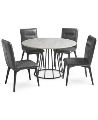 Callisto Marble Round Dining Set 5 Pc Dining Table Amp 4 Side Chairs Created For Macys