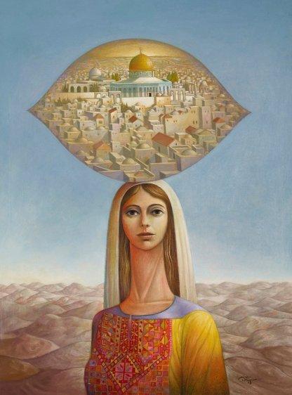 Woman with Jerusalem - Sliman Mansour