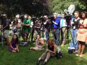 The media covering Justina's departure.