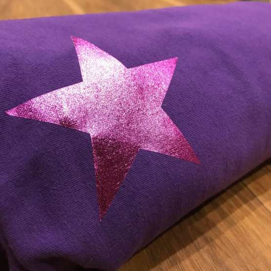 purple baby wrap with pink star logo