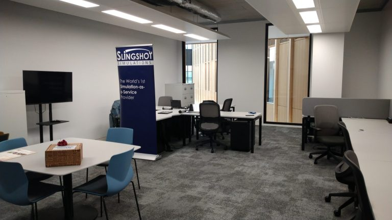 An image of the office after having just moved in.
