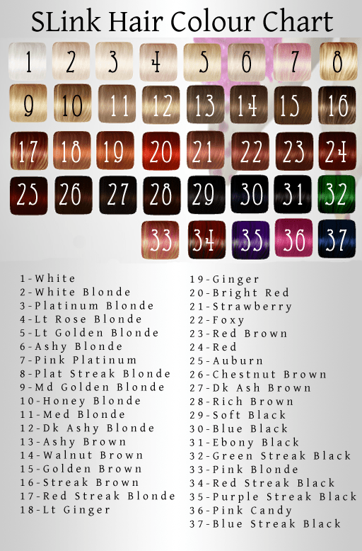 SLink new Hair Colour chart