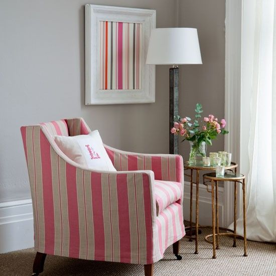 Classic red ticking stripe slipcover