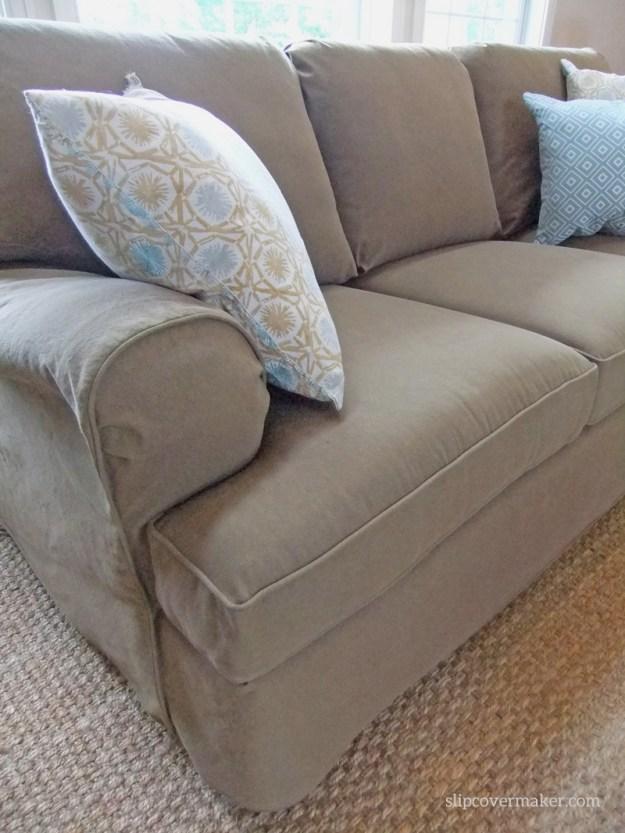 Pet friendly denim sofa slipcover by Karen Powell