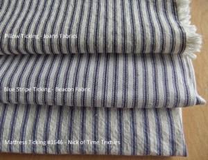 Blue Ticking Stripe Fabrics
