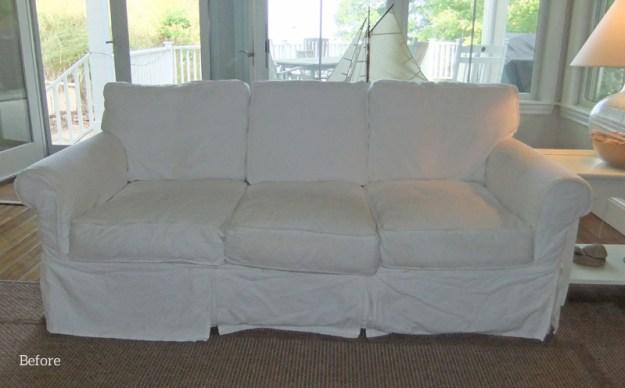 Before: original white twill slipcovers