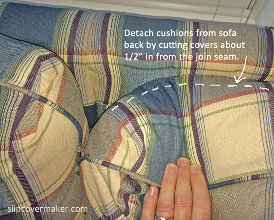 Attached sofa back cushion detail.