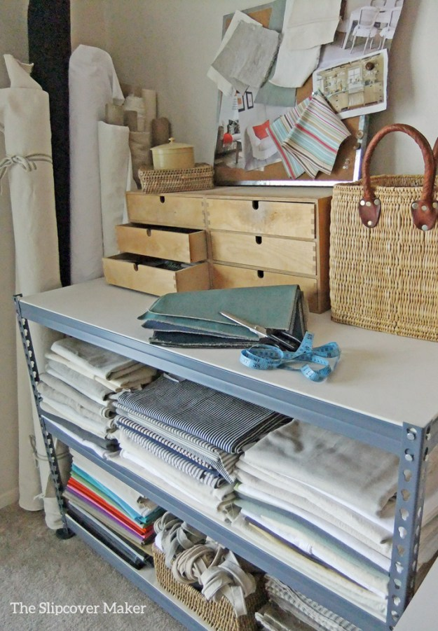 Lowes shelving for fabric storage.