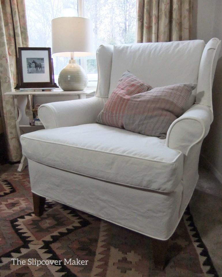 Cream Cotton Poly Canvas Slipcover