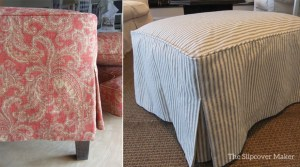 Ottoman Slipcover with Corner Pleats