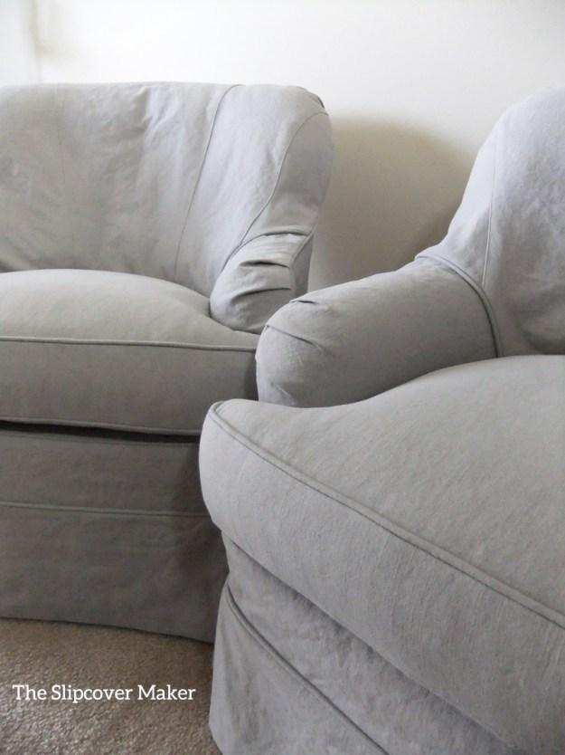 Custom Chair Slipcovers in Grey Linen Cotton