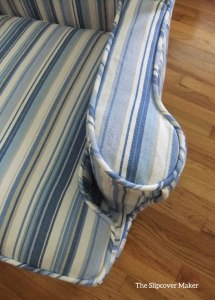 Awning Stripe Slipcover Blues