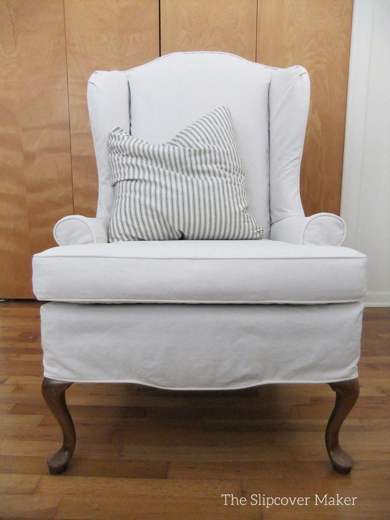 Custom Canvas Slipcover for Wingback Chair