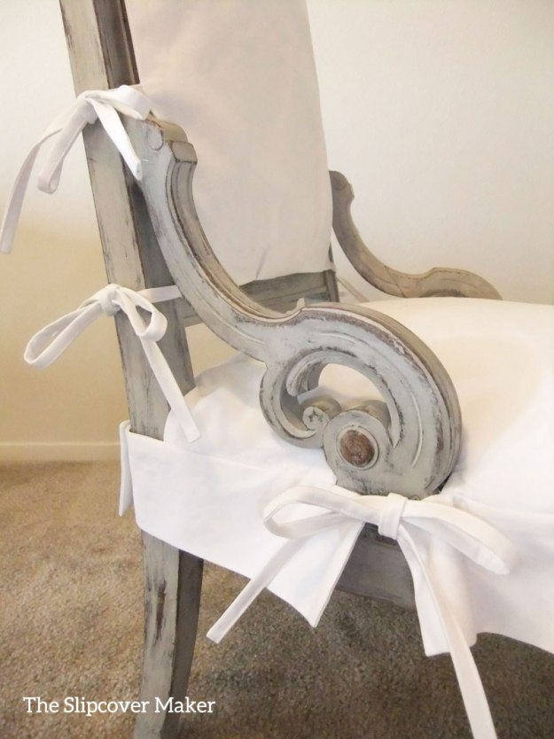 White Twill Slipcover for French Chair