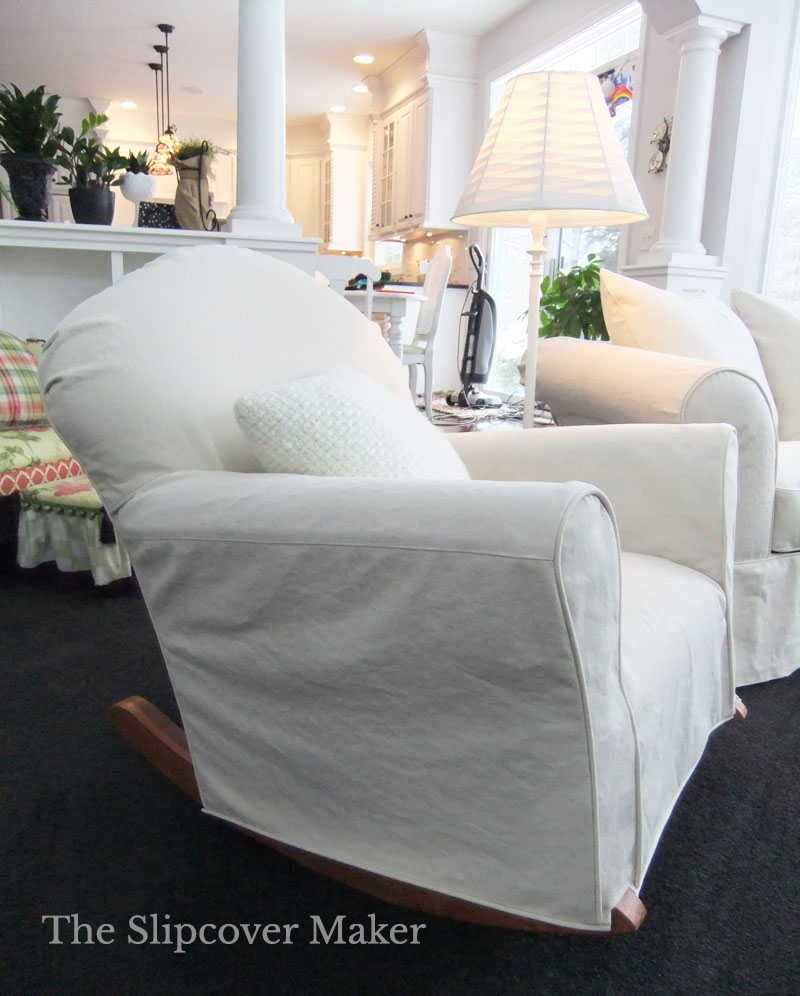 Old rocking chair with new denim slipcover in color natural.