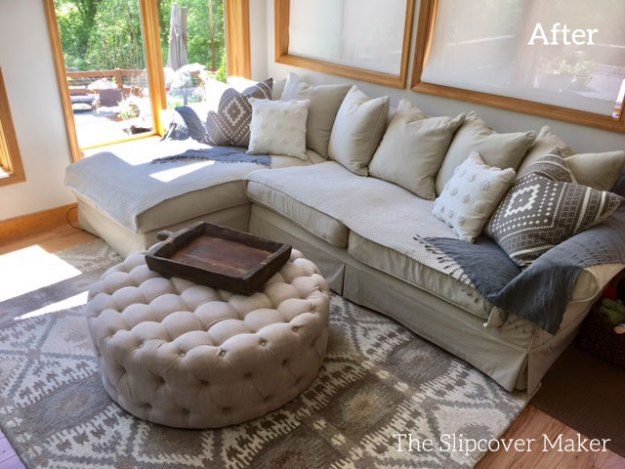 Sectional Slipcover Copy in Khaki Denim