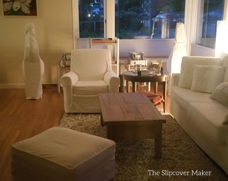 Replacement Slipcovers in White Denim