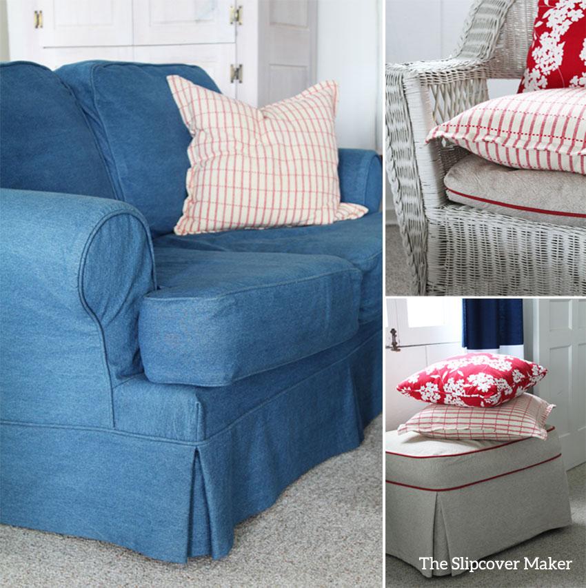 Indigo blue denim sofa loveseat with read pillows.