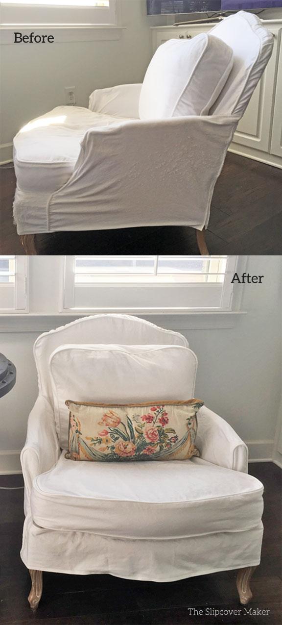 White Denim French Chair Slipcover