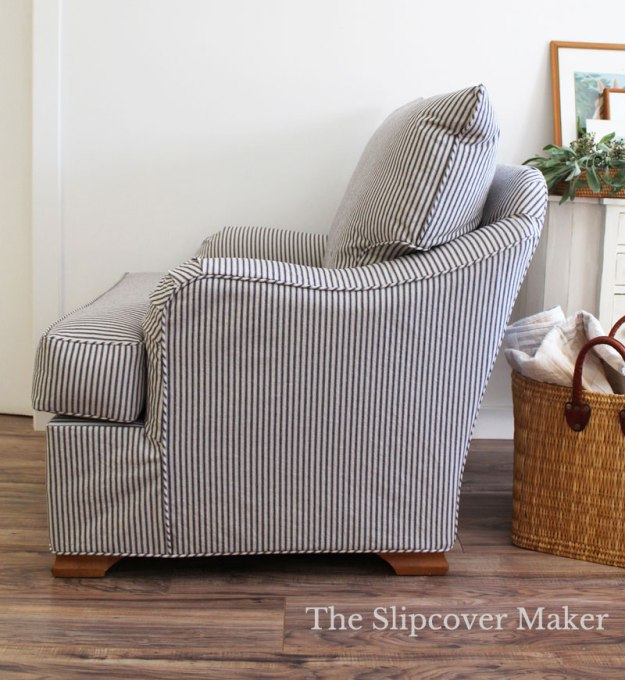 Navy Natural Ticking Slipcover