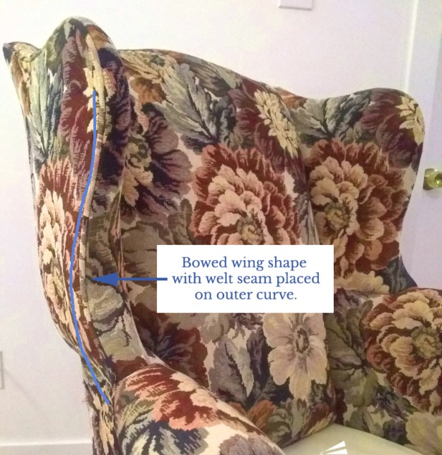 Bowed Shape Wing Chair