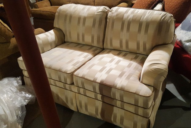 Upholstered Loveseat Before Slipcover