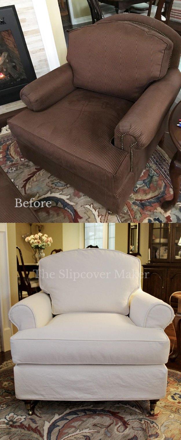 Heavyweight Natural Denim Chair Slipcover