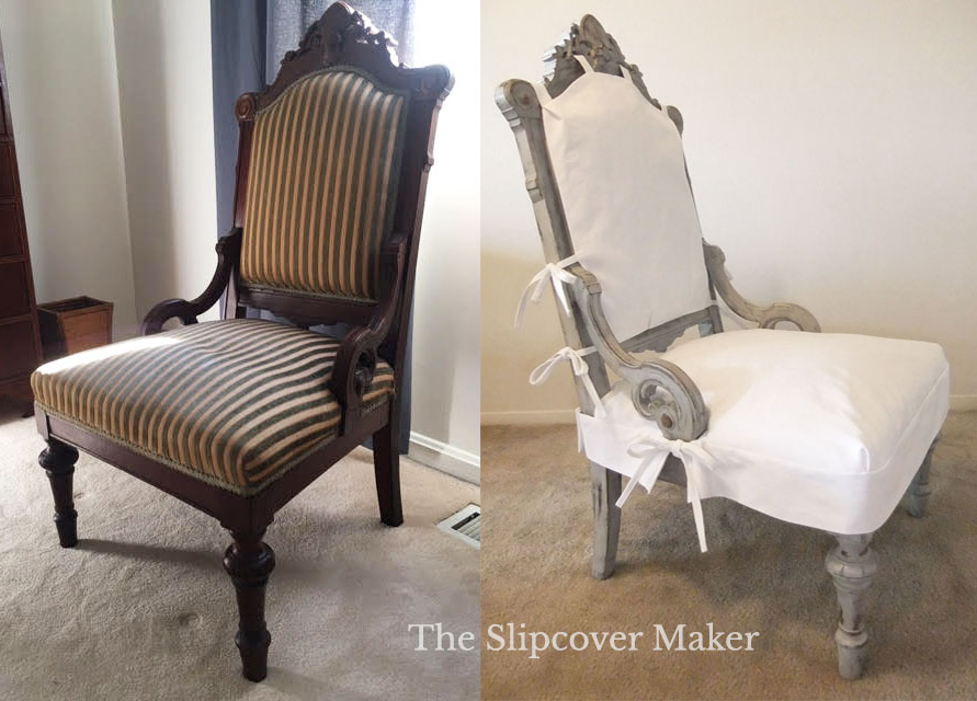 Old Chair Painted and Slipcovered