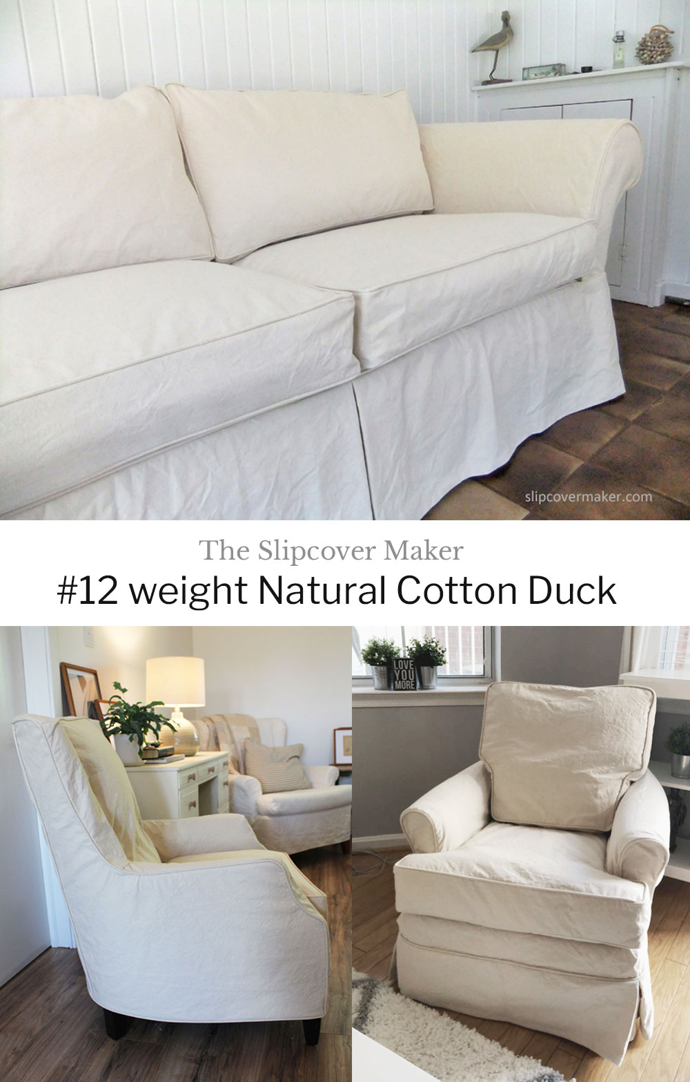 Durable Washed Cotton Duck Slipcovers