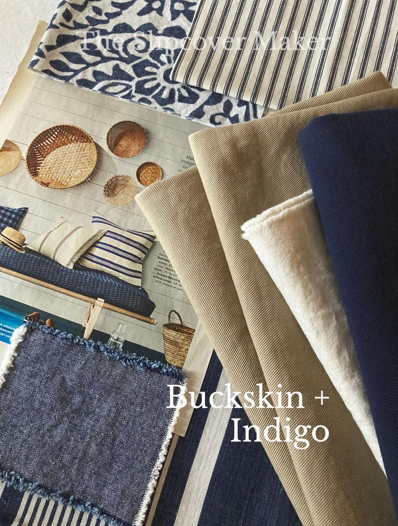 Denim Color Combo Buckskin and Indigo for Slipcovers