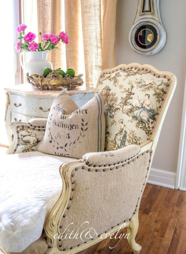 French chair upholstered in three fabrics.