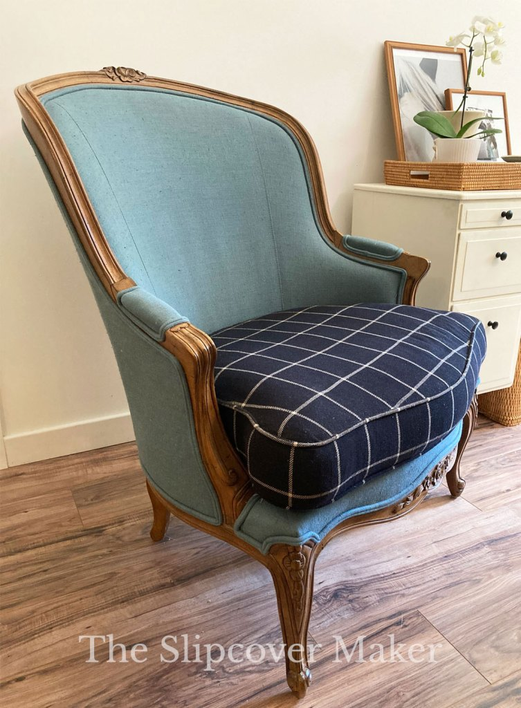 Large French Chair with Exposed Wood Detail
