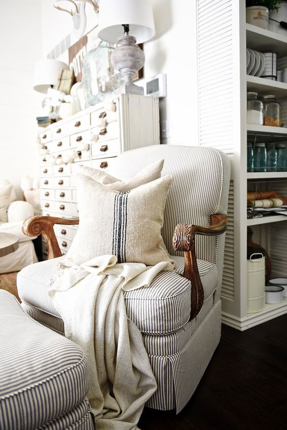 Ticking stripe upholstered French style chair.