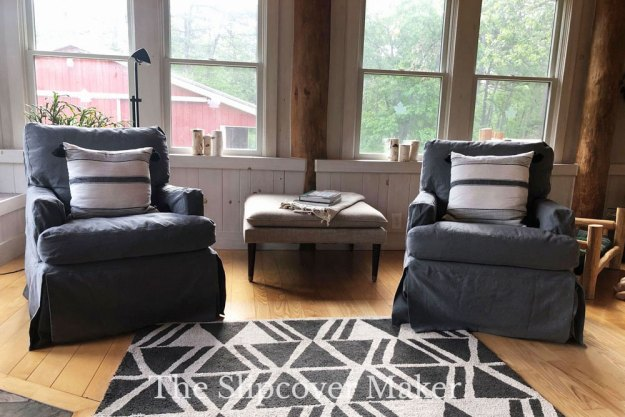Loose Fit Charcoal Canvas Chair Slipcover