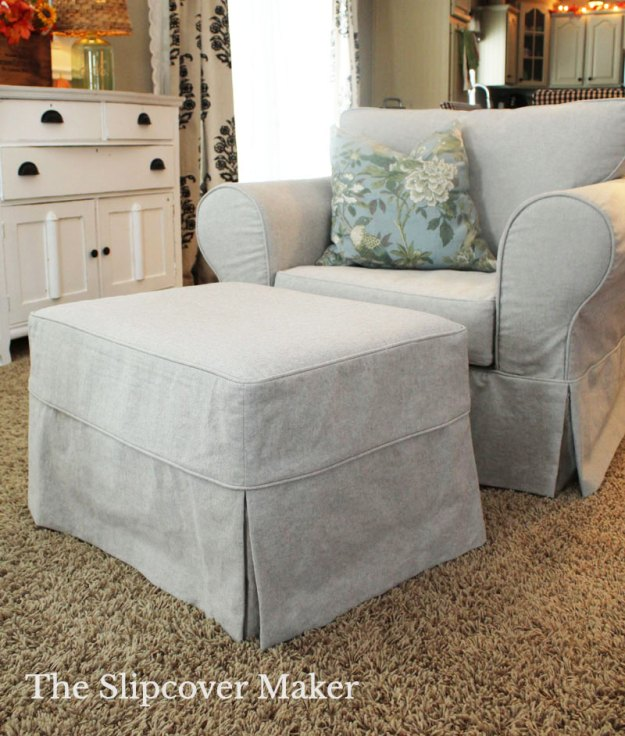 Grey Canvas Chair and Ottoman Slipcover