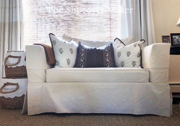 Natural Cotton Canvas Loveseat Slipcover