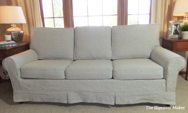 Linen Sofa Slipcover with Short Tailored Skirt