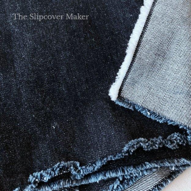 Dark indigo yarn dyed denim front and back.